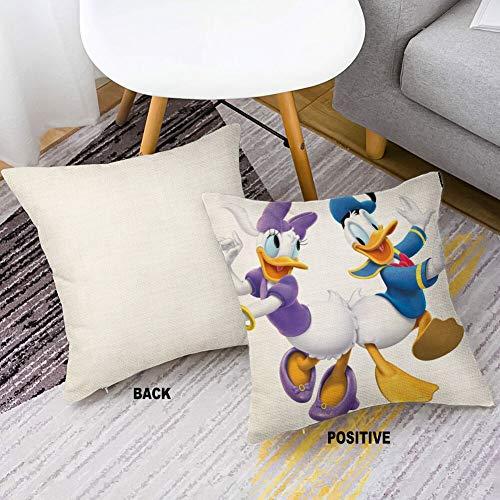 DISNEY COLLECTION Decorative Throw Pillow Decorative Throw Pillow Dancing Donald Duck with Daisy Duck Character Characters from Walt Disney Desktop Wallpaper HD 18 X 18 Inch