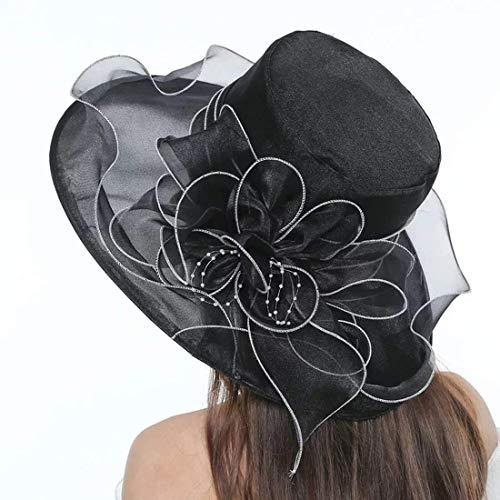 (Women's Organza Church Kentucky Derby Beach Fascinators Hat Bridal Tea Party Fancy Wedding Hat (Black))