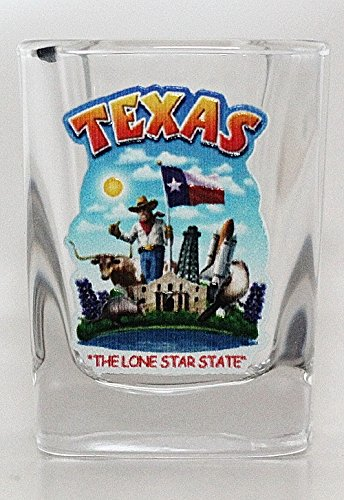 (Texas State Montage Square Shot Glass)