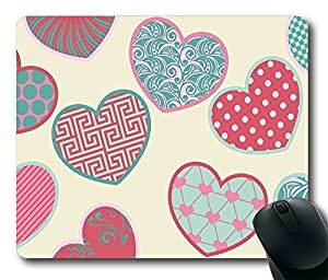 Gaming Mouse Pad Oblong Shaped 2131 colorful hearts holiday Mouse Mat Design Natural Eco Rubber Durable Computer Desk Stationery Accessories Mouse Pads For Gift Support Wired Wireless or Bluetooth Mouse by icecream design