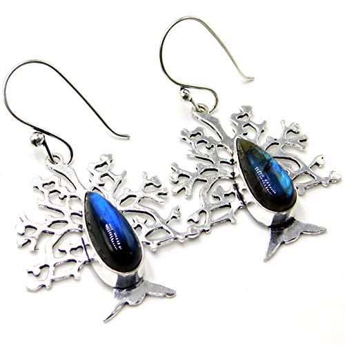 Fire Labradorite Tree Leaf Jewelry 925 Sterling Silver Plated Handmade Earrings 8 -