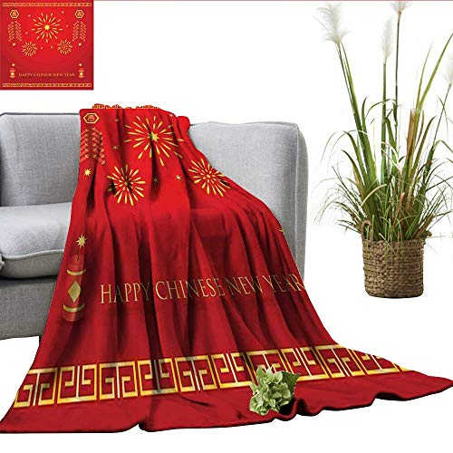 ScottDecor Chinese New Year Plush Throw Blanket Celebration with Fireworks and Firecrackers Oriental Culture Fuzzy Blanket Vermilion and Yellow W60 xL70