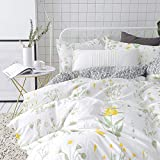 VClife Floral Bedding Sets Cotton Garden Plant Style Bedding Duvet Cover Sets Girls Adults Cotton Bedding Collections 3 Pieces Botanical Comforter Cover Sets (King(104