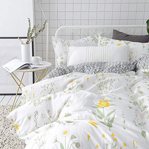 Cover Sets Full Queen Bedding Sets White Yellow Flower Branches Design Bedding Duvet Cover Sets Cotton Comforter Cover Sets for All Season Queen ()
