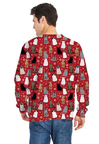 Navidad Gato Mujer Hombre Divertida Aideaone Sudaderas Sudadera Unisex 3 wI05qnzB