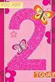 Age 2 Girl Birthday Card - Hot Pink Number, Flowers & Butterflies 7.75' x 5.25'