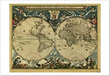 Smart art world map 1664 by vintage reproduction fine art smart art world map 1664 by vintage reproduction fine art print 19x13 gumiabroncs Gallery