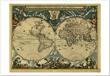 Smart art world map 1664 by vintage reproduction fine art smart art world map 1664 by vintage reproduction fine art print 19x13 gumiabroncs Image collections