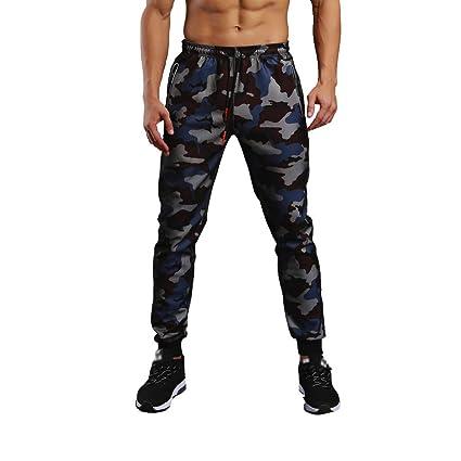 df55a1eceeec28 Allywit Men Cargo Pants Drawstring Camo Joggers Zipper Pockets Sweat  Trousers Big and Tall, Blue