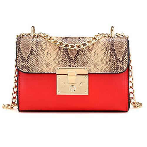 WEUIE Women Shoulder Bags With Metal Chain Strap - Snakeskin Print Messenger Bags Handbags Crossbody Bags