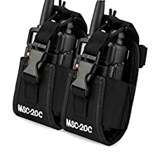abcGoodefg® 3in1 Multi-Function Radio Holder, Holster, Case, Pouch Bag For GPS Kenwood/Yaesu/Icom MotorolaGP338+/344/328/ Baofeng BF-666S/777S/888S Two Way Radio Walkie Talkie 20C (20C-2PACK)