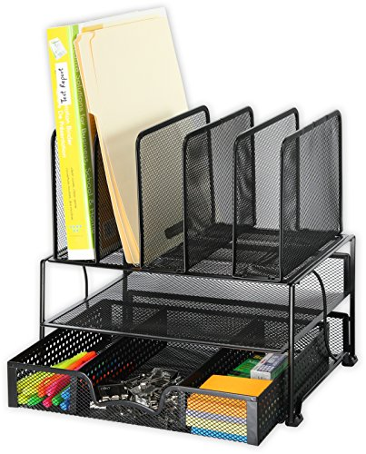SimpleHouseware-Mesh-Desk-Organizer-with-Sliding-Drawer-Double-Tray-and-5-Upright-Sections-Black