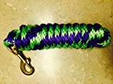 Lime Green/Purple Poly Lead Rope 10' w/ Brass Bolt Snap Valhoma