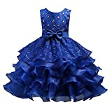 Girl Dresses Size 6 Blue Sleeveless 4-5 Years for Wedding Pageant Dresses for Girls 5-6 Knee Length Ruffles 6-7 Lace Tutu Tulle Ball Gown Children Formal Party Prom Halloween Gowns Blue 120