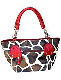 Giraffe Print Shoulder Ring Faux Leather Satchel Bag Handbag