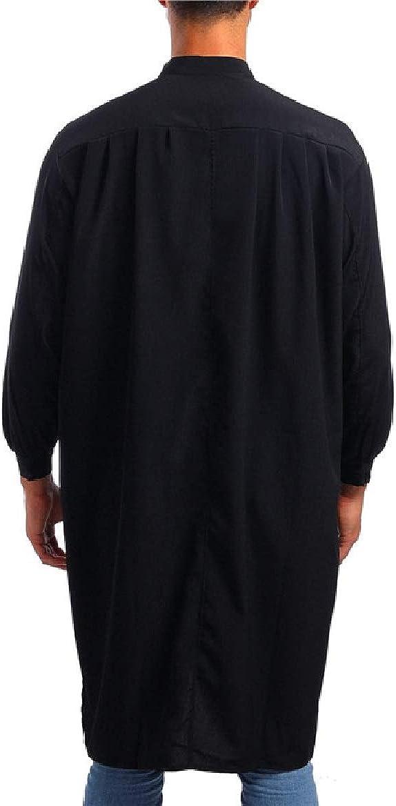 Tootless-Men Arab Thobe Original Fit Mandarin Collar Muslim Islamic Solid Western Shirt