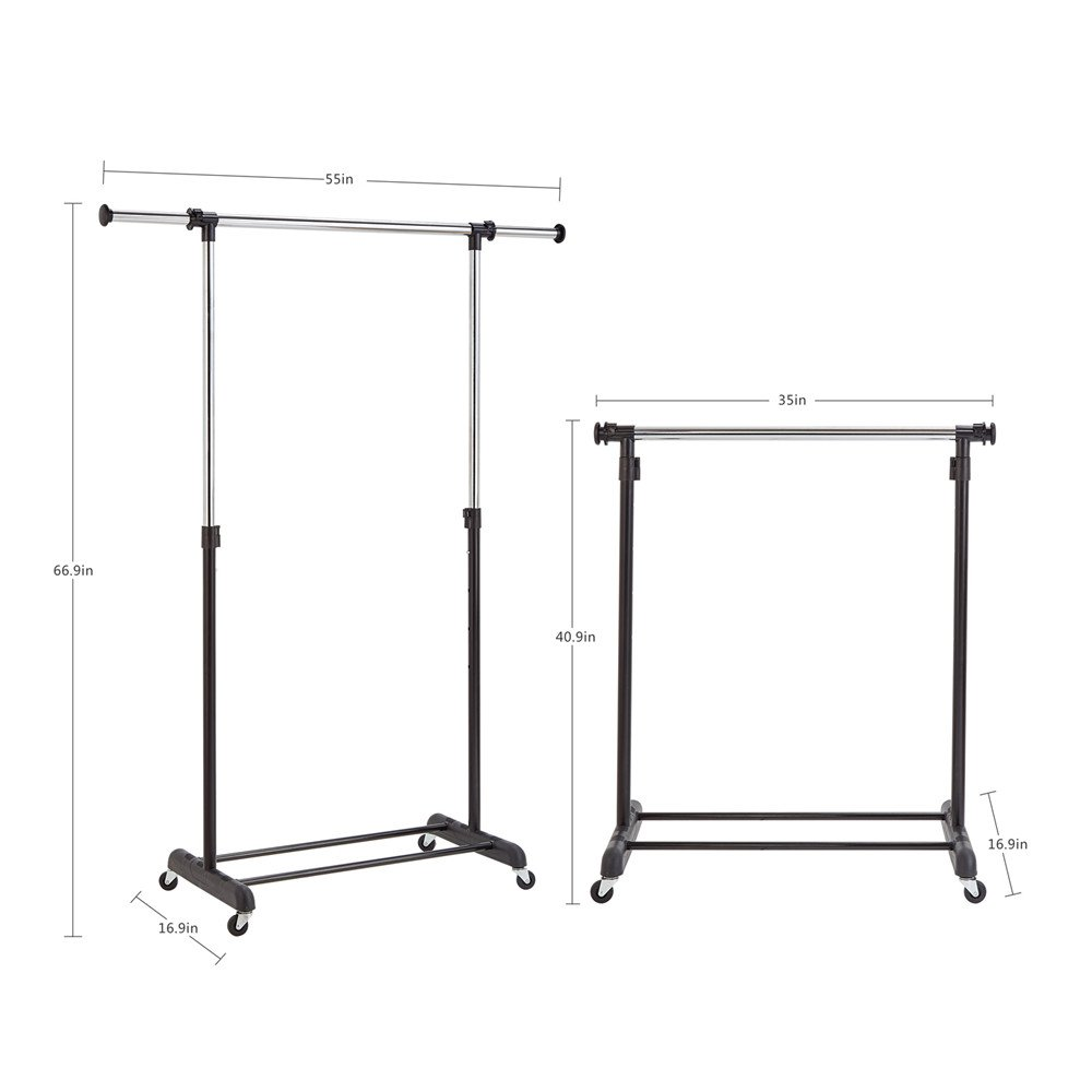RichStar Single Rod Clothes Rack Adjustable Garment Rack-with Commercial Grade Casters,Black&Chrome