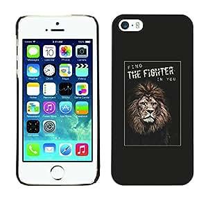 Caucho caso de Shell duro de la cubierta de accesorios de protección BY RAYDREAMMM - Apple iPhone 5 / 5S - Champion Lion Poster You