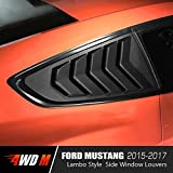 mustang gt louvers - 4WDMUSCLE Matte Black GT Lambo Style Quarter Side Window Scoop Louvers for Ford Mustang 2015 2016 2017