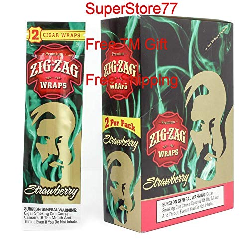 (SuperStore77 Zig Zag Paper 1 Box Strawberry 25 Pouches of 2 Paper Total of 50 Wraps Free SuperStore77 Gift Grinder)