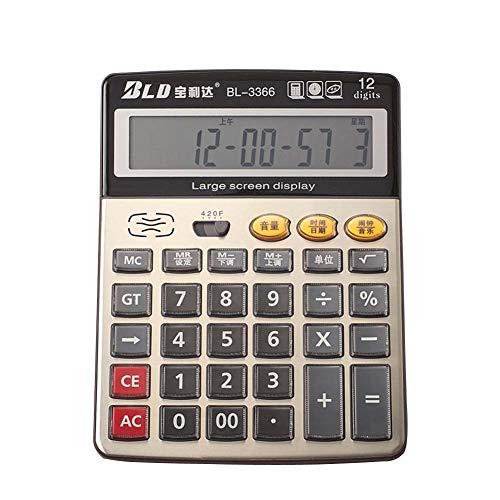 HUIHE - Calculadora de voz, visualización LCD de 12 dígitos, funciona con pilas con alarma y sonido de lectura de voz para...