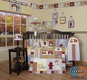 GEENNY Boutique 13 Piece Crib Bedding Set, Baby Boy Firetruck