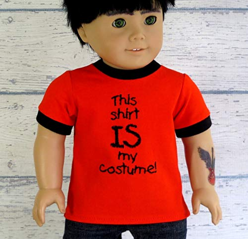 (Boy Doll Clothes 'This is my Costume' Halloween T Shirt, fits 18 inch)