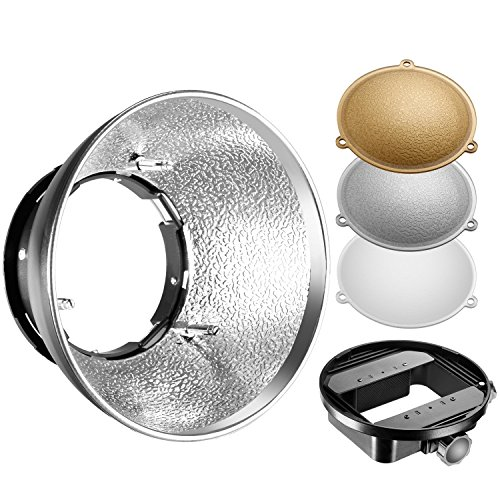 Neewer Beauty Dish Reflector Diffuser Lamp Shade with Bowens Mount and Gold/Silver/White Reflectors for Nikon SB-600, SB-800, SB-900, SB-910,Canon 380EX, 430EXII, 550EX,580EX II, 600EX-RT,Neewer TT560