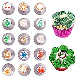 "Christmas Russian Icing Piping Cake/Cupcake Decorating Tips/Kit Set Party Supplies/Decorations 16 Package Include - 15 lovely designed icing piping cake decorating tips + 20 disposable pastry bags (2 sizes) + 1 tri-color couplers + 1 mini brush. 37 pcs total. Size - Each cake decorating nozzles kit measure 1.5""(W) x 1.61""(H). Material - Made of high quality stainless steel, will never rust, safe and sanitary."