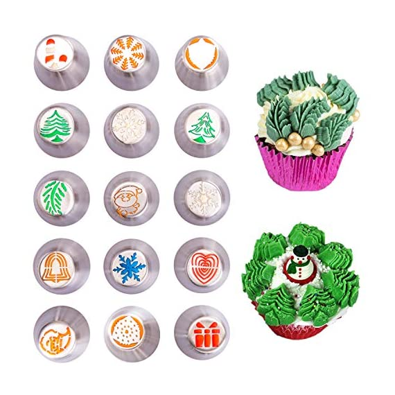 "Christmas Russian Icing Piping Cake/Cupcake Decorating Tips/Kit Set Party Supplies/Decorations 1 Package Include - 15 lovely designed icing piping cake decorating tips + 20 disposable pastry bags (2 sizes) + 1 tri-color couplers + 1 mini brush. 37 pcs total. Size - Each cake decorating nozzles kit measure 1.5""(W) x 1.61""(H). Material - Made of high quality stainless steel, will never rust, safe and sanitary."