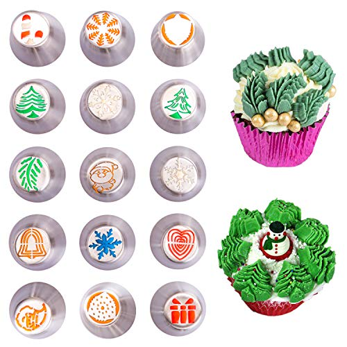 Christmas Russian Icing Piping Cake/Cupcake Decorating Tips/Kit Set Party Supplies/Decorations (Supplies Decorating Christmas)