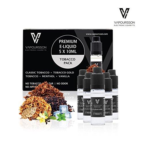 VAPOURSSON 5 X 10ml E-Liquid Classic Tobacco Tobacco Gold Rich Tobacco...