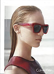 **PRINT AD** With Diane Kendal For 2015 Calvin Klein Red Frame Sunglasses