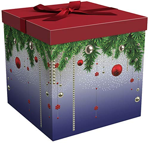 Gift Box for Christmas Holiday Easy to Assemble No Glue Required with Ribbon, Tissue and Gift Tag - Silent Night Collection EZ Gift Box by Endless Art US (12x12x12) -