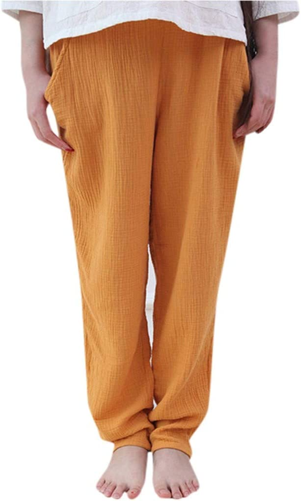 Amazon.com: Women Cotton Linen Palazzo Pants Drawstring ...