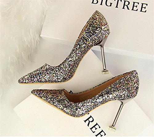 LUCKY CLOVER-A High Heels Sandals Night Club Bar Party Office Ladies Women Bride Girls 4 Season Shoes Multicolor Stiletto Heel Blink Shoes,Gray,EU39