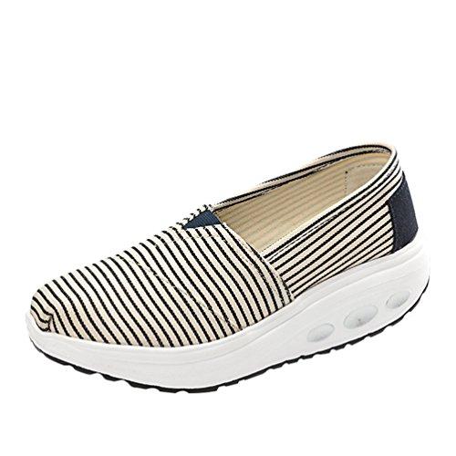 de de de Rayas Fondo de Lona Zapatos de Mujer raya Zapatillas Resbalón Caminar Tacón de 3 deporte Plataforma Corriendo Mocasines Conducción LINNUO de en de Cuña Zapatos Grueso CIqz5nwA5