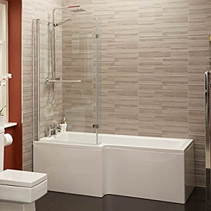 Shower Bath Tub L Shape Acrylic White 1700 Left Hand Bathtub With Shower  Screen And Rubber