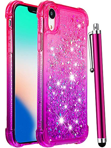 CAIYUNL for iPhone XR Case, Glitter Bling Liquid Sparkle Quicksand Floating Luxury Clear TPU Flexible Bumper Cute Girly Women Girls Men Protective Phone Pretty Cover for Apple iPhone XR -Pink/Purple