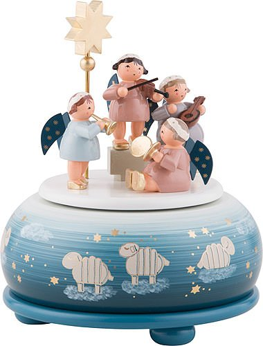 German Music Box / Spieldose German Christmas Angels Concert - 16 cm / 6 inch - Authentic German Erzgebirge Wooden Music Boxes - KWO