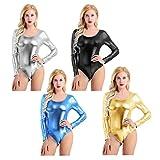ACSUSS Womens Metallic Liquid Long Sleeve Lycra Gymnastic Dance Leotard Bodysuit