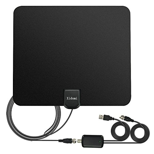 HDTV Antenna,Indoor 50 Mile Range Digital Antenna with Amplified Signal Booster -10ft Coxial Cable(Black) by Xidomi