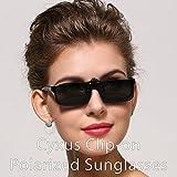 Cyxus Polarized Lenses Classic Sunglasses Clip-On Prescription Glasses [Anti-glare] [UV Protection] Driving/Fishing Outdoor Eyewear, Men & Women (Black)