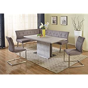 Milan Kaitlynn Grey Dining Table With Nook