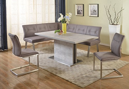 Milan Kaitlynn Grey Dining Table With Nook (Dining Banquette Sets)