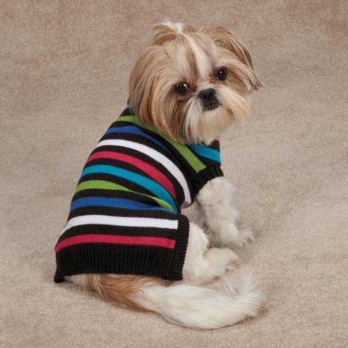 East Side Collection Acrylic Electric Knit Stripe Dog Sweater, XX-Small