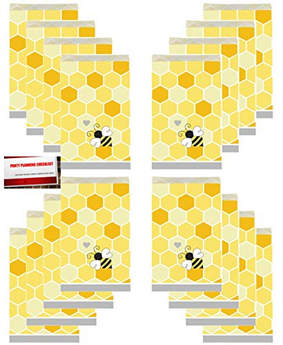 (20 Pack) Bumble Bee Baby Shower Honey Bees Party Paper Loot Treat Candy Favor Bags (Plus Party Planning Checklist by Mikes Super Store)