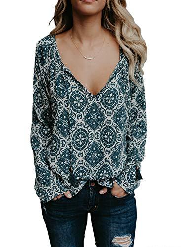 (BLENCOT Women Plus Size Autumn Long Sleeve Blouses Boho Floral V Neck Tee Tops Soft Stretchy Tunic Shirts Knit Work Blue XXL)