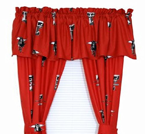 Texas Tech Red Raiders - (1) Printed Curtain Valance/Drape Set (Drape Length 63 Inches) To Decorate One Window - NCAA College Licensed Window Treatment -