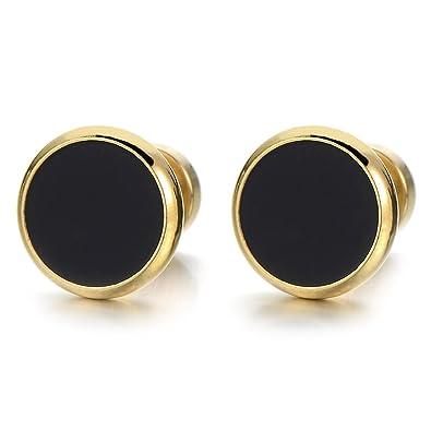 6mm Mens Earrings Womens Black Round G Pattern Stainless Steel Ear Screw Stud